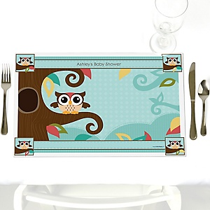 Owl - Look Whooo's Having A Baby - Personalized Baby Shower Placemats