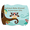 Owl - Look Whooo's Having A Baby - Personalized Baby Shower Squiggle Stickers - 16 ct