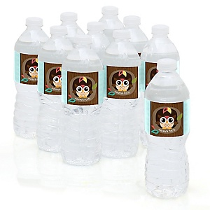 Owl - Look Whooo's Having A Party - Personalized Party Water Bottle Sticker Labels - Set of 10