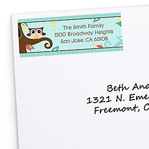 Owl - Look Whooo's Having A Birthday - Personalized Birthday Party Return Address Labels - 30 ct