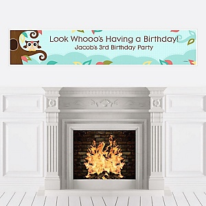 Owl - Look Whooo's Having A Birthday - Personalized Birthday Party Banners
