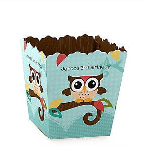 Owl - Look Whooo's Having A Birthday - Party Mini Favor Boxes - Personalized Birthday Party Treat Candy Boxes - Set of 12