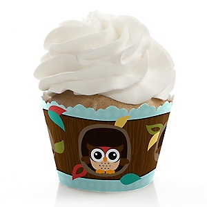Owl - Look Whooo's Having A Birthday - Birthday Decorations - Party Cupcake Wrappers - Set of 12