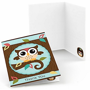 Owl - Look Whooo's Having A Birthday - Birthday Party Thank You Cards - 8 ct