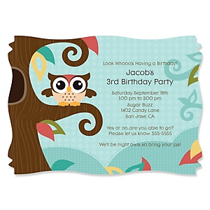Owl - Look Whooo's Having A Birthday - Personalized Birthday Party Invitations - Set of 12