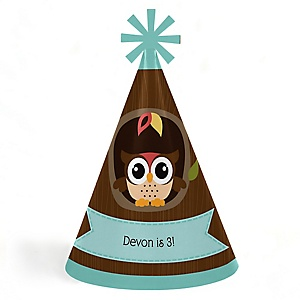 Owl - Look Whooo's Having A Party - Personalized Cone Happy Birthday Party Hats for Kids and Adults - Set of 8 (Standard Size)