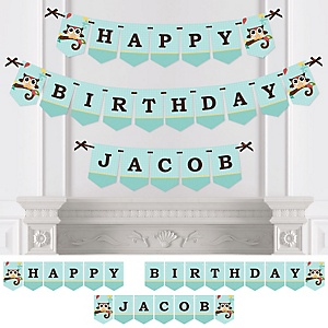 Owl - Look Whooo's Having A Birthday - Personalized Birthday Party Bunting Banner & Decorations