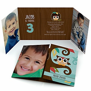 Owl - Look Whooo's Having A Birthday - Personalized Birthday Party Photo Invitations - Set of 12