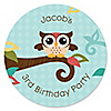 Owl - Look Whooo's Having A Birthday - Personalized Birthday Party Sticker Labels - 24 ct