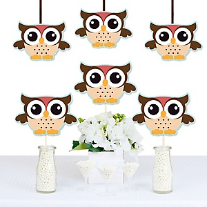 Owl - Look Whooo's Having A Party - Owl Decorations DIY Baby Shower or Birthday Party Essentials - Set of 20