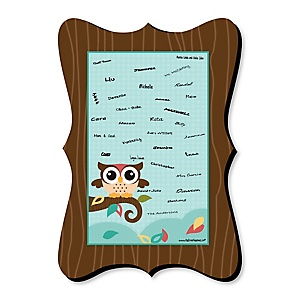 Owl - Look Whooo's Having A Party - Unique Alternative Guest Book - Baby Shower or Birthday Party Signature Mat