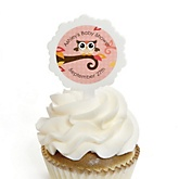 Owl Girl - Look Whooo's Having A Baby - 12 Cupcake Picks & 24 Personalized Stickers - Baby Shower Cupcake Toppers
