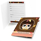 Owl Girl - Look Whooo's Having A Baby - Baby Shower Fill In Invitations - 8 ct