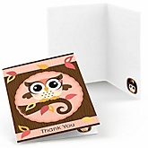 Owl Girl - Look Whooo's Having A Baby - Baby Shower Thank You Cards - 8 ct