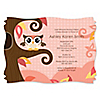 Owl Girl - Look Whooo's Having A Baby - Personalized Baby Shower Invitations
