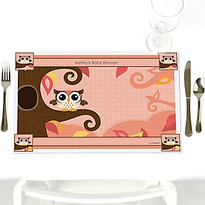 Owl Girl - Look Whooo's Having A Baby - Personalized Baby Shower Placemats