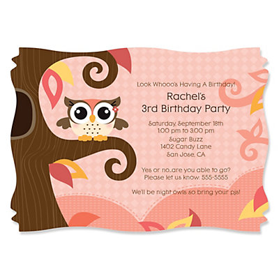 owl girl look whooos having a birthday personalized birthday party invitations bigdotofhappinesscom - Girl Birthday Party Invitations