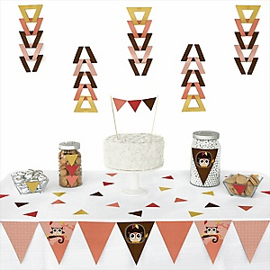Owl Girl - Look Whooo's Having A Baby - 72 Piece Triangle Party Decoration Kit