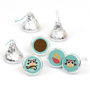 Owl - Look Whooo's Having A Party - Round Candy Labels Party Favors - Fits Hershey's Kisses - 108 ct