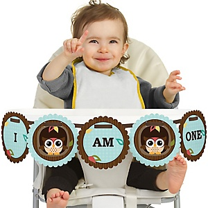 Owl - Look Whooo's Having A Birthday 1st Birthday - I am One - First Birthday High Chair Banner