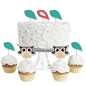 Owl - Look Whooo's Having A Party - Dessert Cupcake Toppers - Baby Shower or Birthday Party Clear Treat Picks - Set of 24