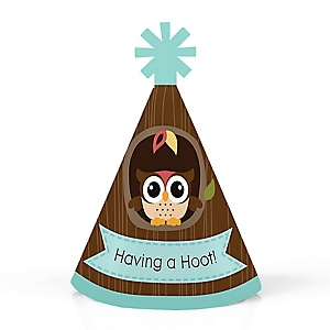 Owl - Look Whooo's Having A Party - Personalized Mini Cone Baby Shower or Birthday Party Hats - Small Little Party Hats - Set of 10