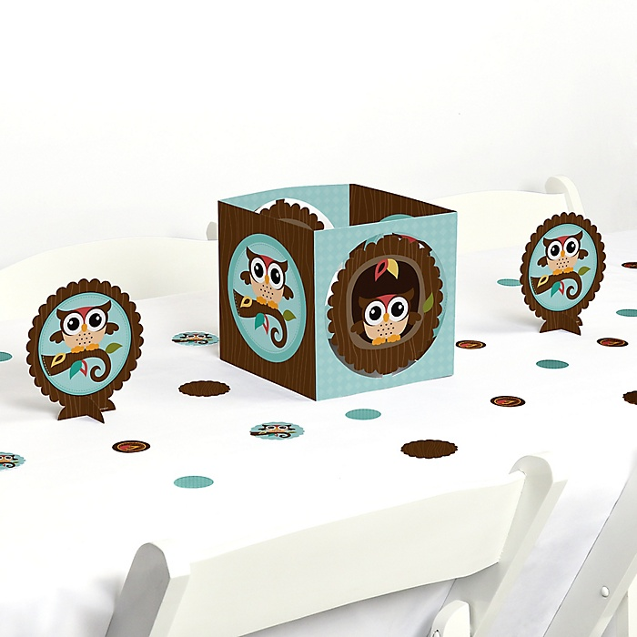 Owl - Look Whooo's Having A Party - Baby Shower or Birthday Party Centerpiece and Table Decoration Kit