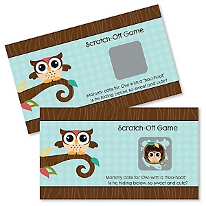 Owl - Look Whooo's Having A Party - Baby Shower Game Scratch Off Cards - 22 ct