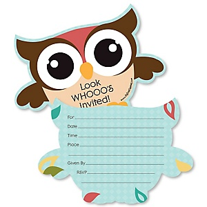 Owl - Look Whooo's Having A Party - Shaped Fill-In Invitations - Baby Shower or Birthday Party Invitation Cards with Envelopes - Set of 12