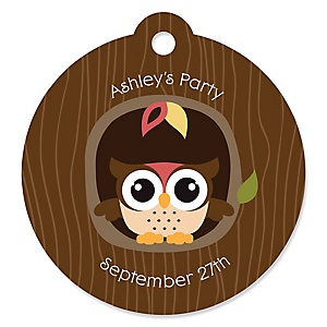 Owl - Look Whooo's Having A Party - Round Personalized Party Tags - 20 ct