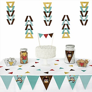 Owl - Look Whooo's Having A Baby -  Triangle Party Decoration Kit - 72 Piece