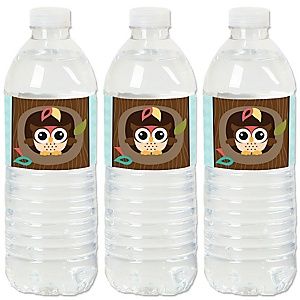 Owl - Look Whooo's Having A Party - Baby Shower or Birthday Party Water Bottle Sticker Labels - Set of 20
