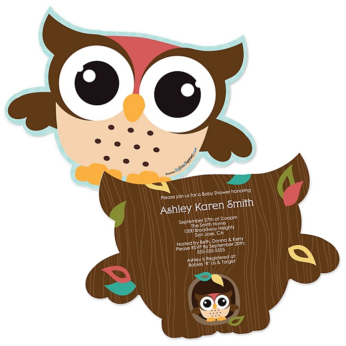 Owl - Look Whooo's Having A Baby - Shaped Baby Shower Invitations - Set of 12