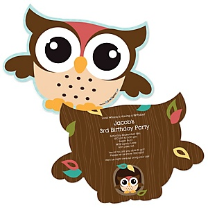 Owl - Look Whooo's Having A Birthday - Shaped Birthday Party Invitations - Set of 12