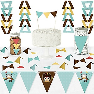 Owl - Look Whooo's Having A Party - DIY Pennant Banner Decorations - Baby Shower or Birthday Party Triangle Kit - 99 Pieces