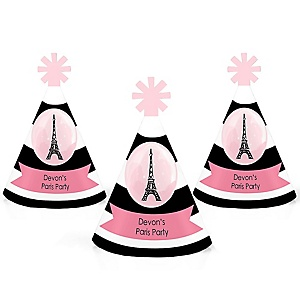 Paris, Ooh La La - Personalized Paris Themed Mini Cone Birthday Party Hats - Small Little Party Hats - Set of 10