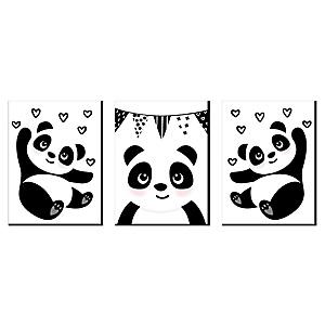 Party Like a Panda Bear - Nursery Wall Art, Kids Room Decor and Panda Home Decorations - 7.5 x 10 inches - Set of 3 Prints