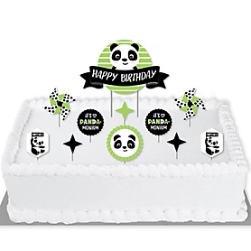Party Like a Panda Bear - Birthday Party Cake Decorating Kit - Happy Birthday Cake Topper Set - 11 Pieces
