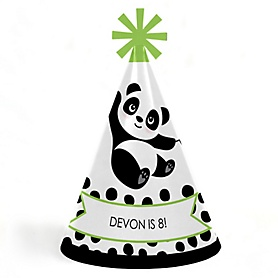 Party Like a Panda Bear - Personalized Cone Happy Birthday Party Hats for Kids and Adults - Set of 8 (Standard Size)