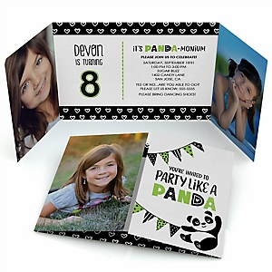Party Like a Panda Bear - Personalized Birthday Party Photo Invitations - Set of 12