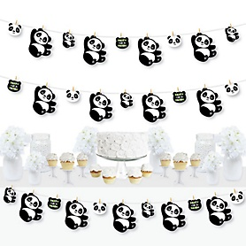 Party Like a Panda Bear - Baby Shower or Birthday Party DIY Decorations - Clothespin Garland Banner - 44 Pieces