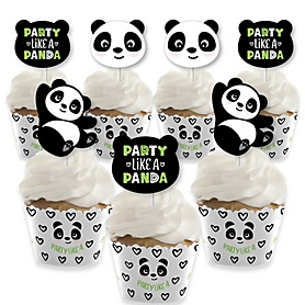 Party Like a Panda Bear - Cupcake Decoration - Baby Shower or Birthday Party Cupcake Wrappers and Treat Picks Kit - Set of 24