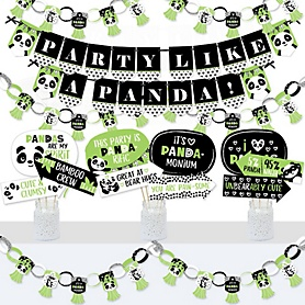 Party Like a Panda Bear - Banner and Photo Booth Decorations - Baby Shower or Birthday Party Supplies Kit - Doterrific Bundle
