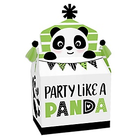 Party Like a Panda Bear - Treat Box Party Favors - Baby Shower or Birthday Party Goodie Gable Boxes - Set of 12