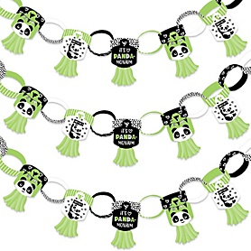 Party Like a Panda Bear - 90 Chain Links and 30 Paper Tassels Decoration Kit - Baby Shower or Birthday Party Paper Chains Garland - 21 feet