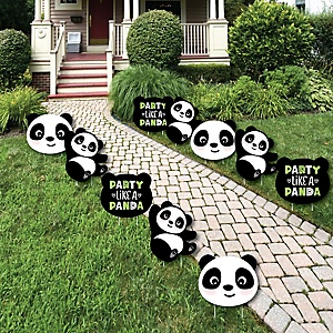 Party Like a Panda Bear - Lawn Decorations - Outdoor  Baby Shower or Birthday Party Yard Decorations - 10 Piece