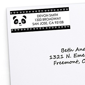 Party Like a Panda Bear - Personalized  Baby Shower or Birthday Party Return Address Labels - 30 ct