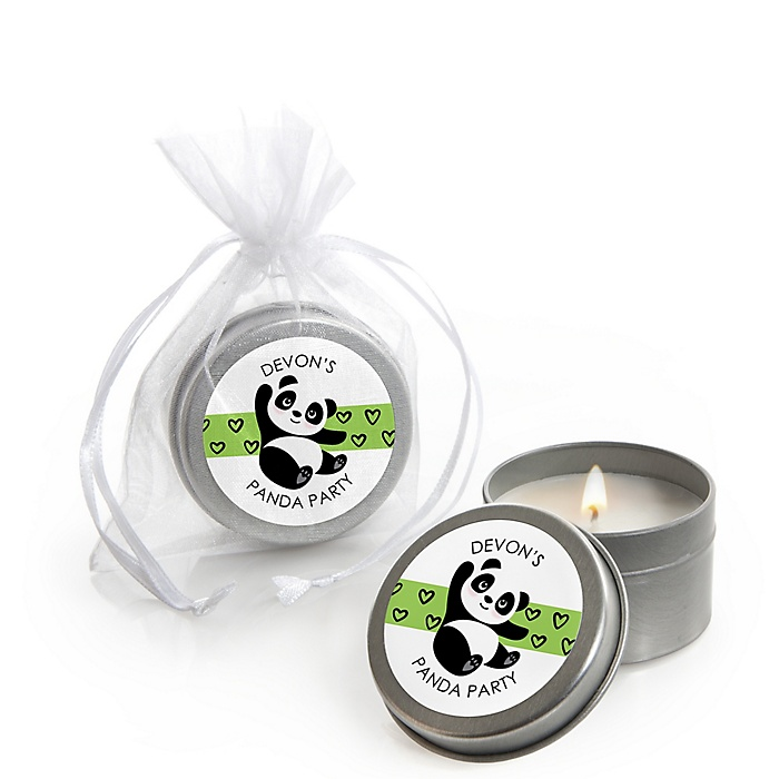 Party Like a Panda Bear - Personalized  Baby Shower or Birthday Party Candle Tin Favors - Set of 12