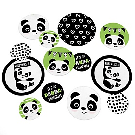Party Like a Panda Bear - Baby Shower or Birthday Party Giant Circle Confetti - Party Decorations - Large Confetti 27 Count