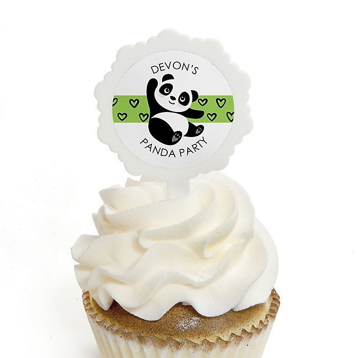 Party Like a Panda Bear - Cupcake Picks with Personalized Stickers -  Baby Shower or Birthday Party Cupcake Toppers - 12 ct